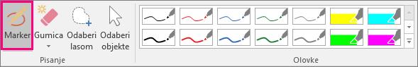 Prikazuje gumb za isticanje u odjeljku Rukopisni alati