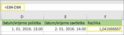 = E84-D84 i rezultat 1,041666667