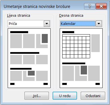 Dodavanje novih stranica u bilten uz dijaloški okvir Umetanje stranica novinske brošure.