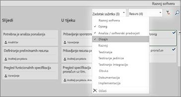 Ploča sa zadacima s padajućim popisom Filtar