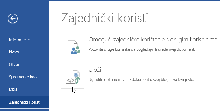 Ugradite dokument sustava Office.