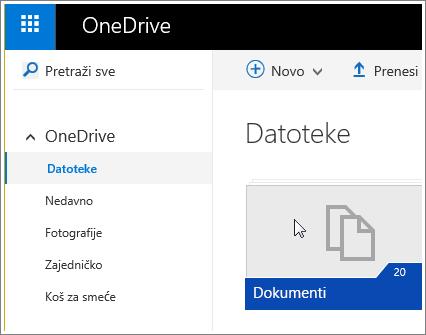 Snimka zaslona mape Dokumenti na servisu OneDrive.