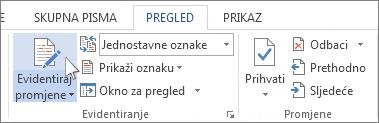 Evidentiranje promjena na vrpci programa Word