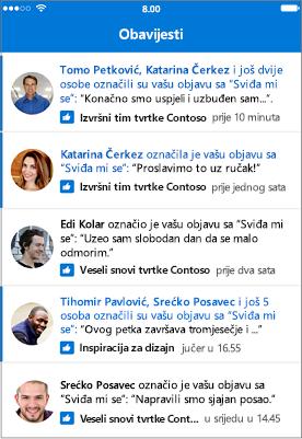 Obavijesti u aplikaciji Outlook Groups Mobile