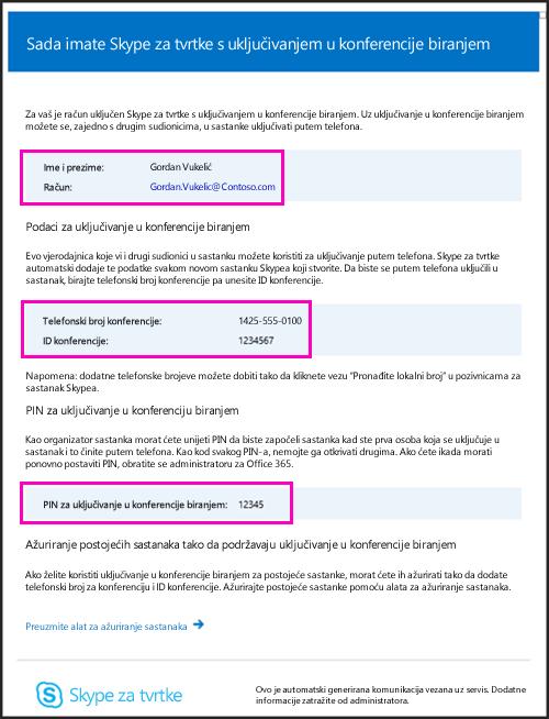 E-pošta u konferencijama u koje se uključuje biranjem