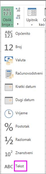 Oblik teksta za brojeve