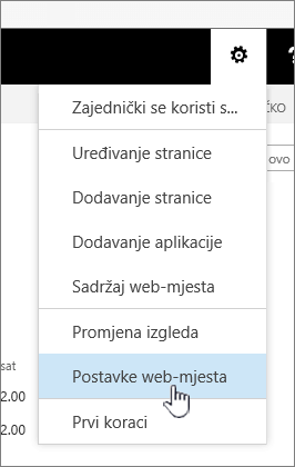 Mogućnost postavke web-mjesta u odjeljku gumb postavke