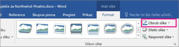 Na kartici Alati za slike – oblikovanje istaknuta je mogućnost obruba slike.