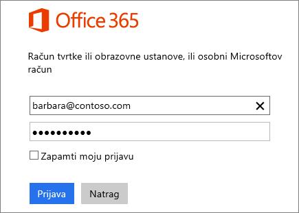 Snimka zaslona okna za prijavu u Office 365