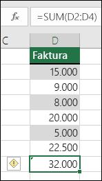 Excel prikazuje pogrešku kada formula preskoči ćelije u rasponu