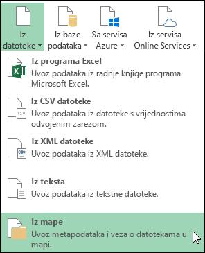 Power Query > iz datoteke > iz mape mogućnosti