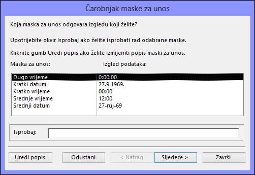 Čarobnjak za maske za unos u bazu podataka programa Access za stolna računala
