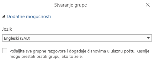 Odaberite slanje e-pošte grupe u mape ulazne pošte korisnika