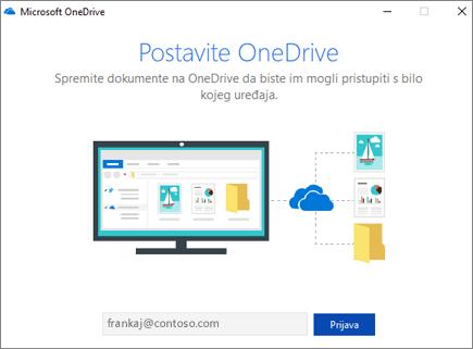 Zaslon postavljanja servisa OneDrive