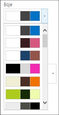 Snimka izbornika za odabir boja na novom web-mjestu sustava SharePoint
