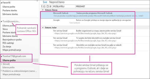 Kada dodate račun za Gmail, u programu Outlook prikazat će vam se dva računa