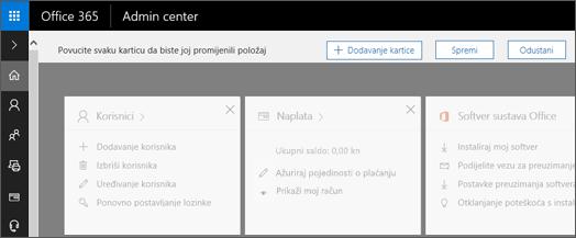 Prikazuje Početna stranica centra za administratore stranicu s sivih out izgled.