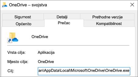 Snimka zaslona s izbornikom svojstava u aplikaciji OneDrive.