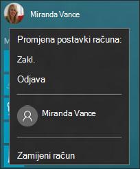 Slika izbornika koji se prikazuje prilikom odabira slike računa