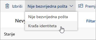 Snimka zaslona nije bezvrijedna izbornika s mogućnošću za krađu identiteta odabrana