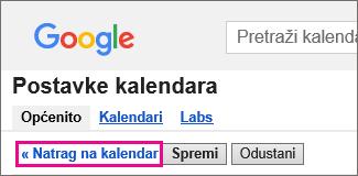 Google Kalendar – kliknite Natrag da biste kalendar