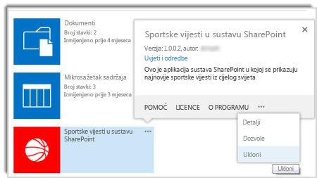Snimka zaslona s naredbom za uklanjanje u oblačiću sa svojstvima aplikacije.