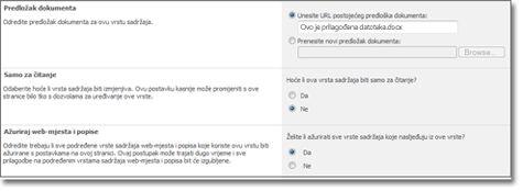 Prozor Dodatne postavke vrste sadržaja web-mjesta