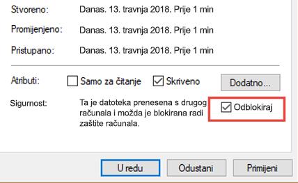 Deblokiranja datoteka
