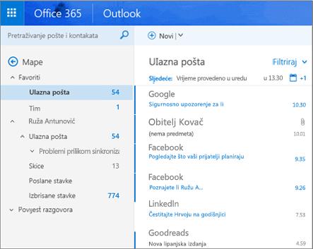 Primarni prikaz programa Outlook na webu