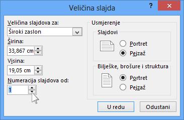Prikaz dijaloškog okvira Veličina slajdova u programu PowerPoint