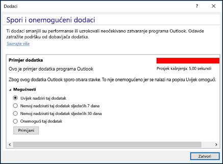 Onemogućavanje dodataka za Outlook
