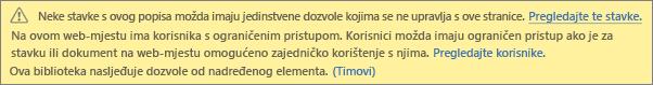 Slika koja prikazuje poruku za jedinstvene dozvole za popis ili biblioteku