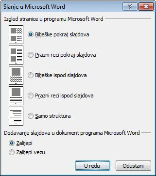 Dijaloški okvir Slanje u Microsoft Word