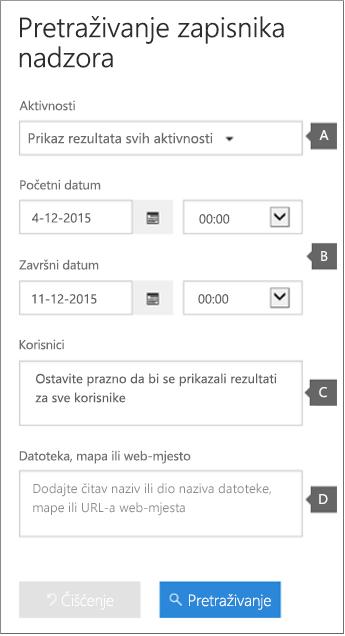 Konfigurirajte kriterije pa kliknite Pretraži da biste pronašli izvješće