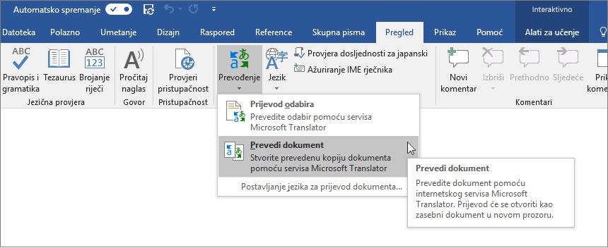 Vrpca programa Word s prikazanom mogućnošću Prevedi dokument
