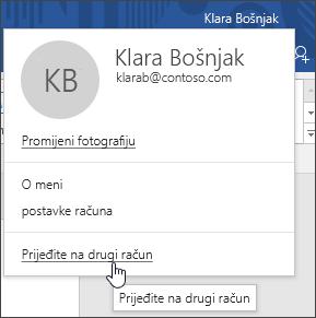 Snimka zaslona koja prikazuje kako mijenjati račune u aplikaciji sustava Office za računala