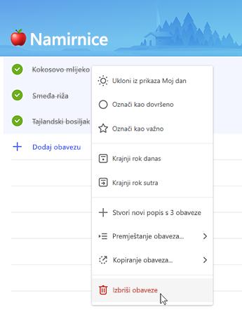 Snimka zaslona na kojoj se prikazuje mogućnost brisanja obaveza na kontekstnom izborniku