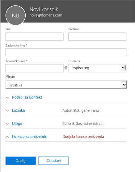 Snimka zaslona s poljima koja treba popuniti kada dodajete korisnika u Office 365 za tvrtke