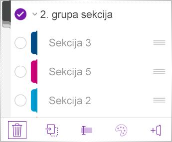 Brisanje grupe sekcija u aplikaciji OneNote za iOS