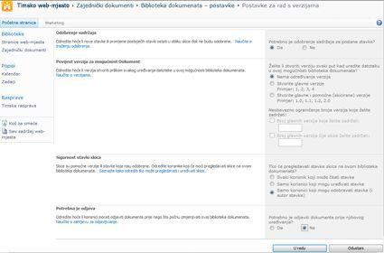 Stranica Odabir verzija na kojoj su odabrane stavke za odobrenje
