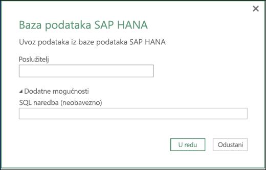 Dijaloški okvir za uvoz baze podataka SAP HANA dodatka Power BI za Excel