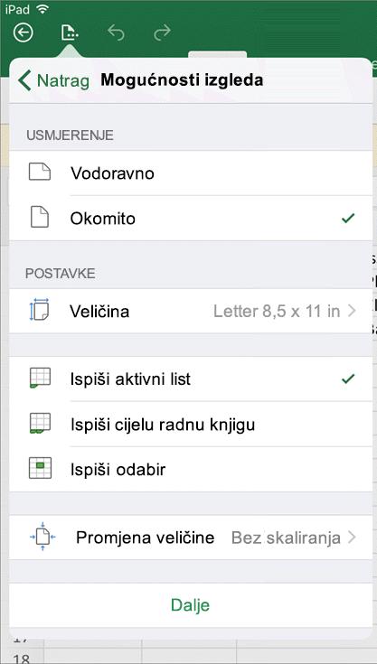Dijaloškom okviru Postavke ispisa u programu Excel za iOS možete konfigurirati kako će se ispisati radni list.