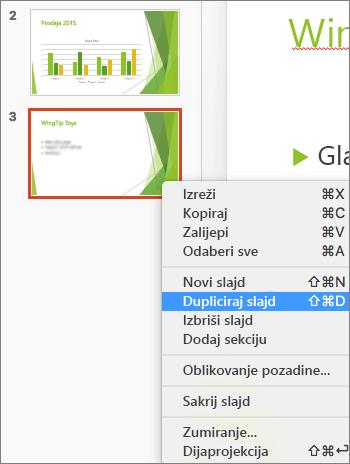 Snimka zaslona prikazuje odabrani slajd i mogućnost Dupliciraj slajd odabranu u izborniku koji se otvara desnom tipkom miša.