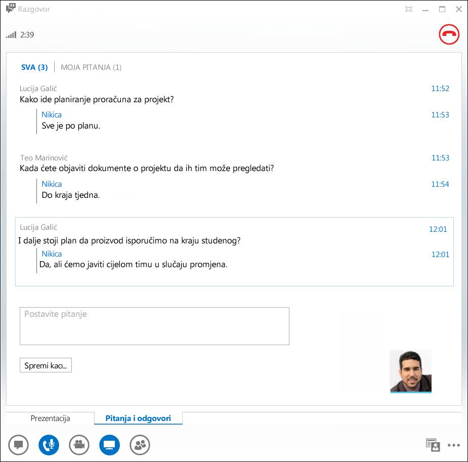 Snimka zaslona s upraviteljem pitanja i odgovora