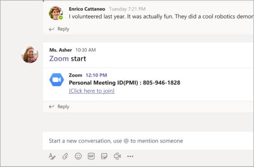 Povezivanje s zumom u programu Microsoft Teamchannel
