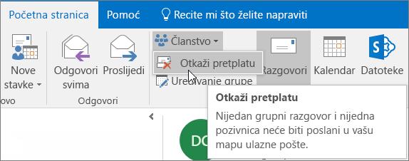 Korisnici mogu poništiti pretplatu iz grupe da dalje ne biste primali e-poštu poslanu u njihove mape ulazne pošte.
