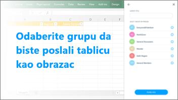 Snimka zaslona: Selecta grupe za slanje tablice
