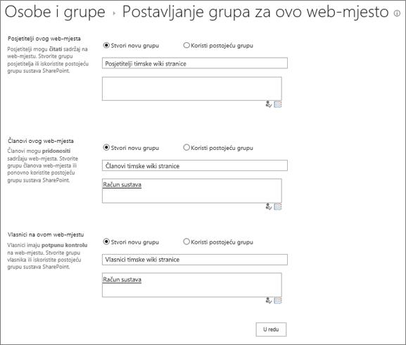 Postavljanje grupa za web-mjesta dijaloškog okvira