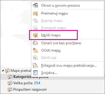 brisanje mapi pretraživanja