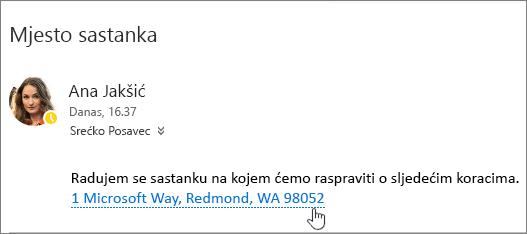 Snimka zaslona poruke e-pošte s tekstom o sastanku i adresu sastanak je podcrtano da biste naznačili koje je moguće odabrati da biste prikazali u Bing karte.